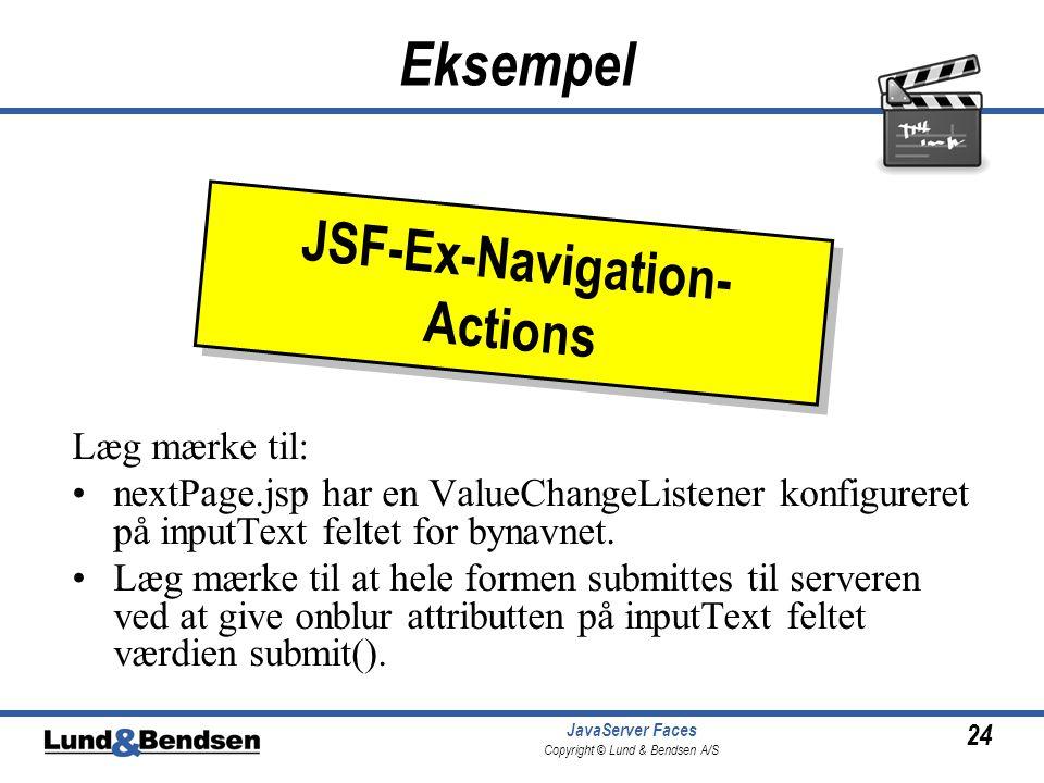 24 JavaServer Faces Copyright © Lund & Bendsen A/S Eksempel Læg mærke til: •nextPage.jsp har en ValueChangeListener konfigureret på inputText feltet for bynavnet.