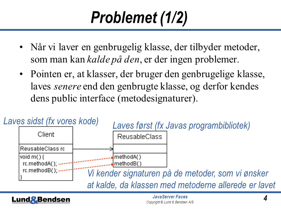4 JavaServer Faces Copyright © Lund & Bendsen A/S Problemet (1/2) •Når vi laver en genbrugelig klasse, der tilbyder metoder, som man kan kalde på den, er der ingen problemer.