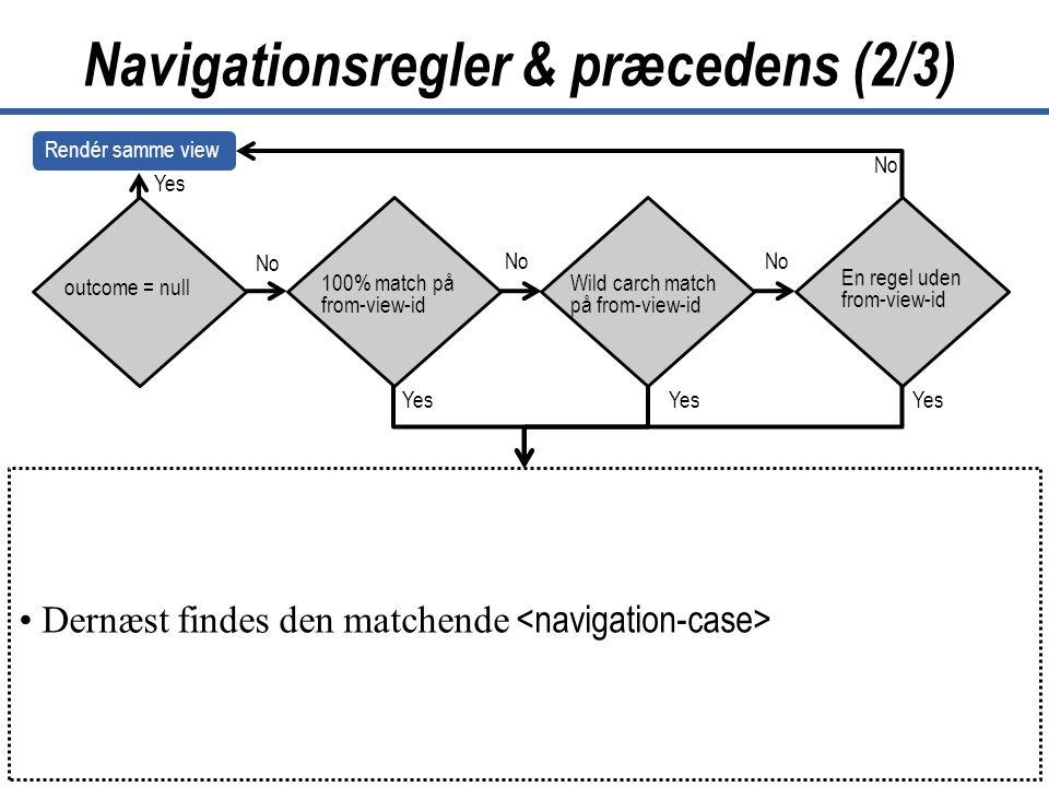 40 JavaServer Faces Copyright © Lund & Bendsen A/S Navigationsregler & præcedens (2/3) outcome = null 100% match på from-view-id Wild carch match på from-view-id En regel uden from-view-id No •Match on •from-action and from-outcome •Match on •from-outcome and no from- action exists •Match on •from-action and no from-outcome •exists •Case without •from-action and from-outcome •exists •yes •No •Render new page •yes •No • Dernæst findes den matchende Yes Rendér samme view No