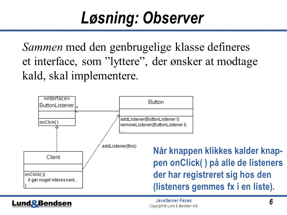6 JavaServer Faces Copyright © Lund & Bendsen A/S Løsning: Observer Sammen med den genbrugelige klasse defineres et interface, som lyttere , der ønsker at modtage kald, skal implementere.