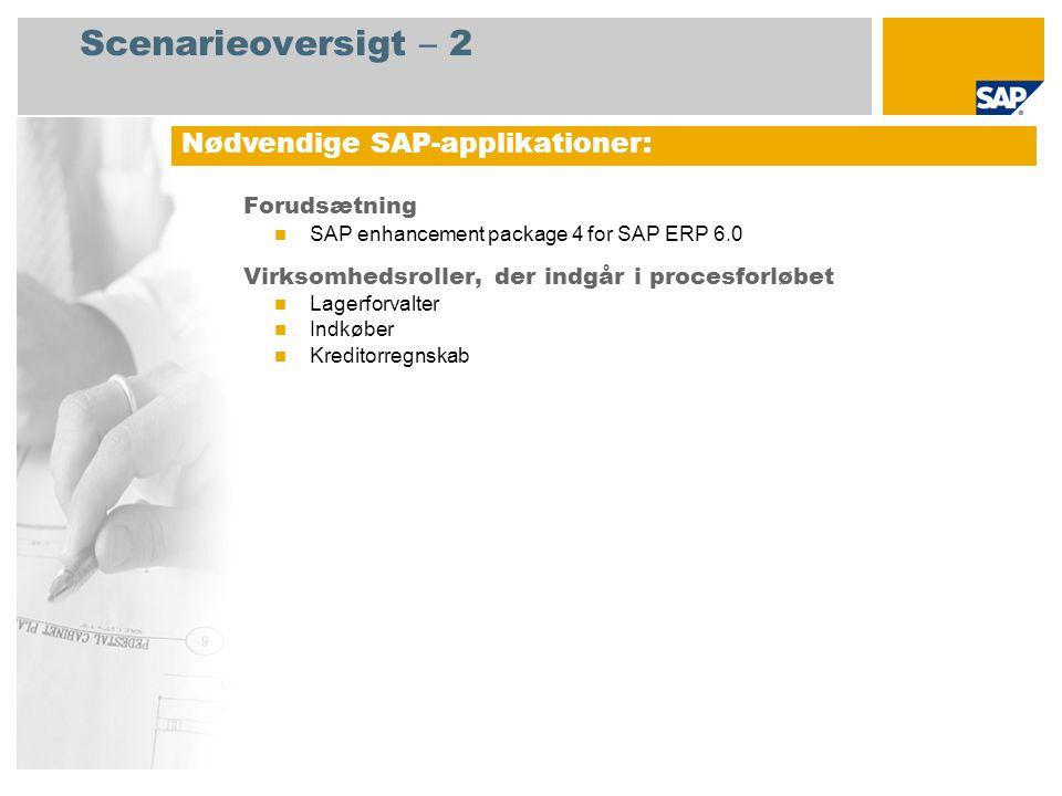 Scenarieoversigt – 2 Forudsætning  SAP enhancement package 4 for SAP ERP 6.0 Virksomhedsroller, der indgår i procesforløbet  Lagerforvalter  Indkøber  Kreditorregnskab Nødvendige SAP-applikationer: