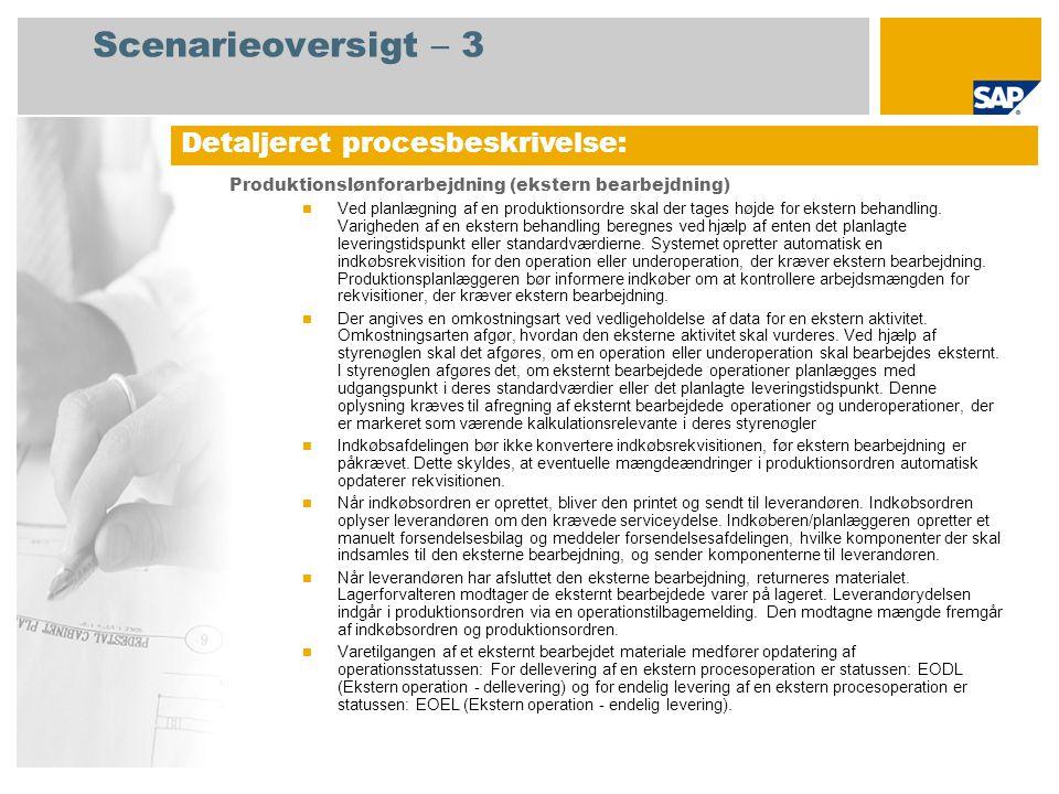 Scenarieoversigt – 3 Produktionslønforarbejdning (ekstern bearbejdning)  Ved planlægning af en produktionsordre skal der tages højde for ekstern behandling.