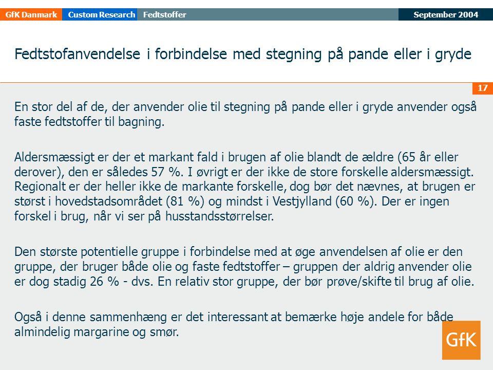 September 2004FedtstofferGfK DanmarkCustom Research 17 Fedtstofanvendelse i forbindelse med stegning på pande eller i gryde En stor del af de, der anvender olie til stegning på pande eller i gryde anvender også faste fedtstoffer til bagning.