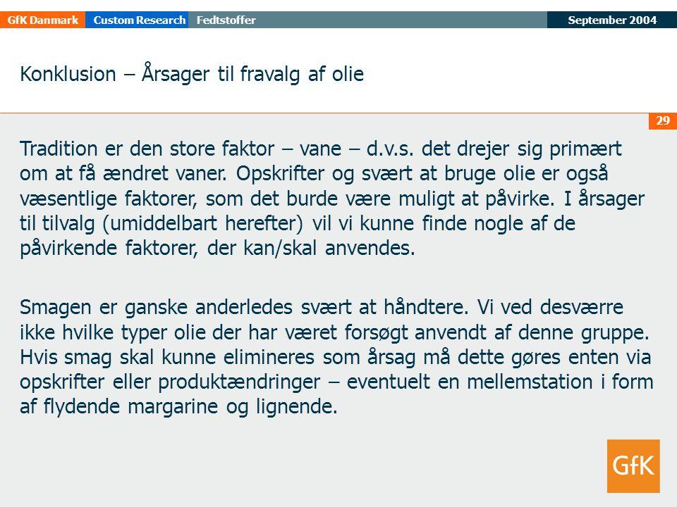 September 2004FedtstofferGfK DanmarkCustom Research 29 Konklusion – Årsager til fravalg af olie Tradition er den store faktor – vane – d.v.s.