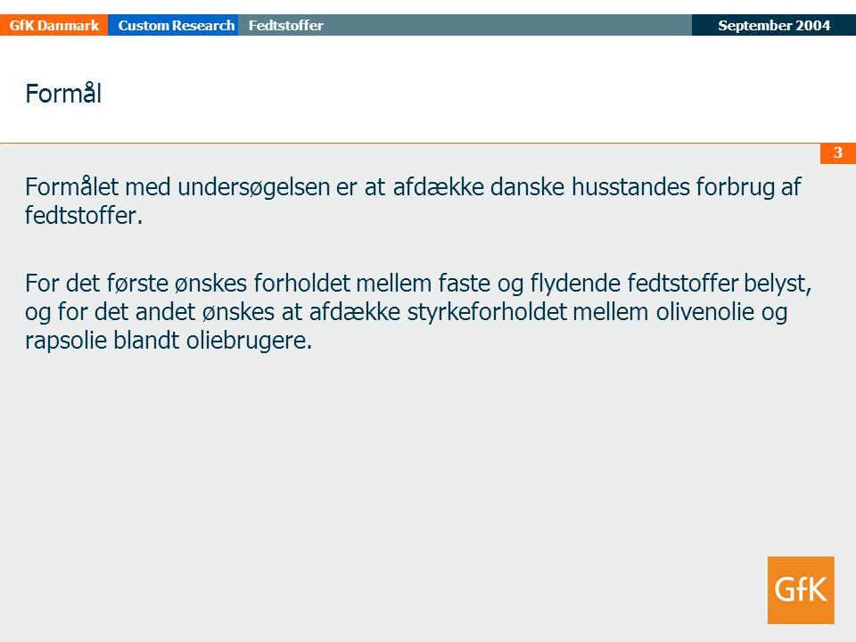 September 2004FedtstofferGfK DanmarkCustom Research 3 Formål Formålet med undersøgelsen er at afdække danske husstandes forbrug af fedtstoffer.