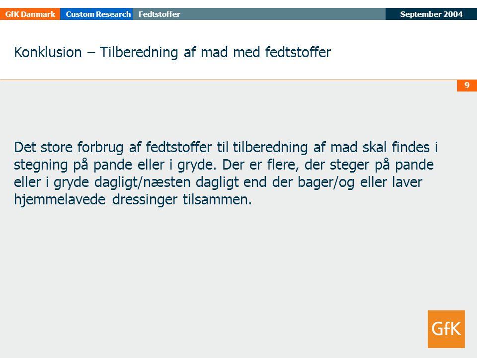 September 2004FedtstofferGfK DanmarkCustom Research 9 Konklusion – Tilberedning af mad med fedtstoffer Det store forbrug af fedtstoffer til tilberedning af mad skal findes i stegning på pande eller i gryde.