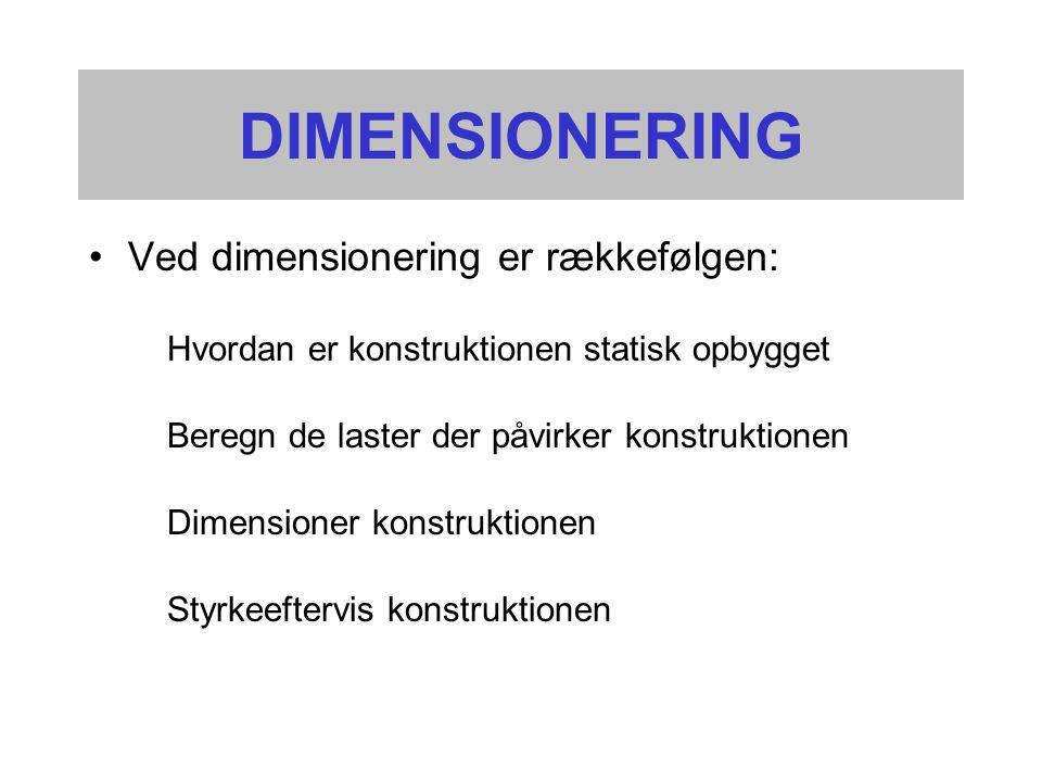 DIMENSIONERING •Ved dimensionering er rækkefølgen: Hvordan er konstruktionen statisk opbygget Beregn de laster der påvirker konstruktionen Dimensioner konstruktionen Styrkeeftervis konstruktionen