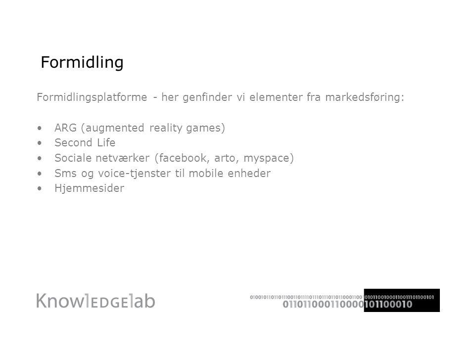 Formidling Formidlingsplatforme - her genfinder vi elementer fra markedsføring: •ARG (augmented reality games) •Second Life •Sociale netværker (facebook, arto, myspace) •Sms og voice-tjenster til mobile enheder •Hjemmesider