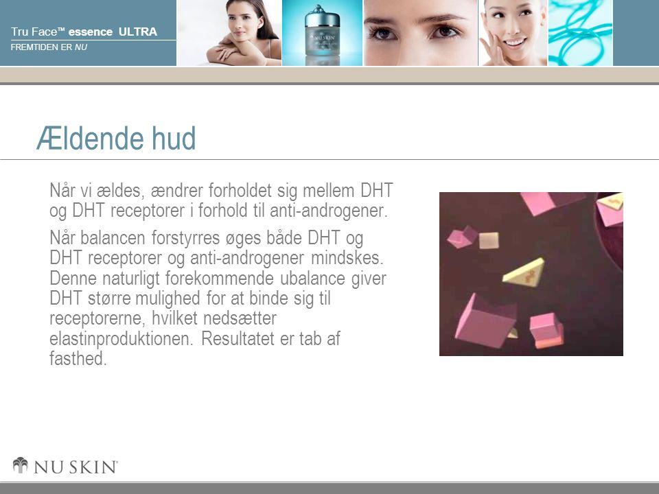 © 2001 Nu Skin International, Inc Tru Face ™ essence ULTRA FREMTIDEN ER NU Ældende hud Når vi ældes, ændrer forholdet sig mellem DHT og DHT receptorer i forhold til anti-androgener.
