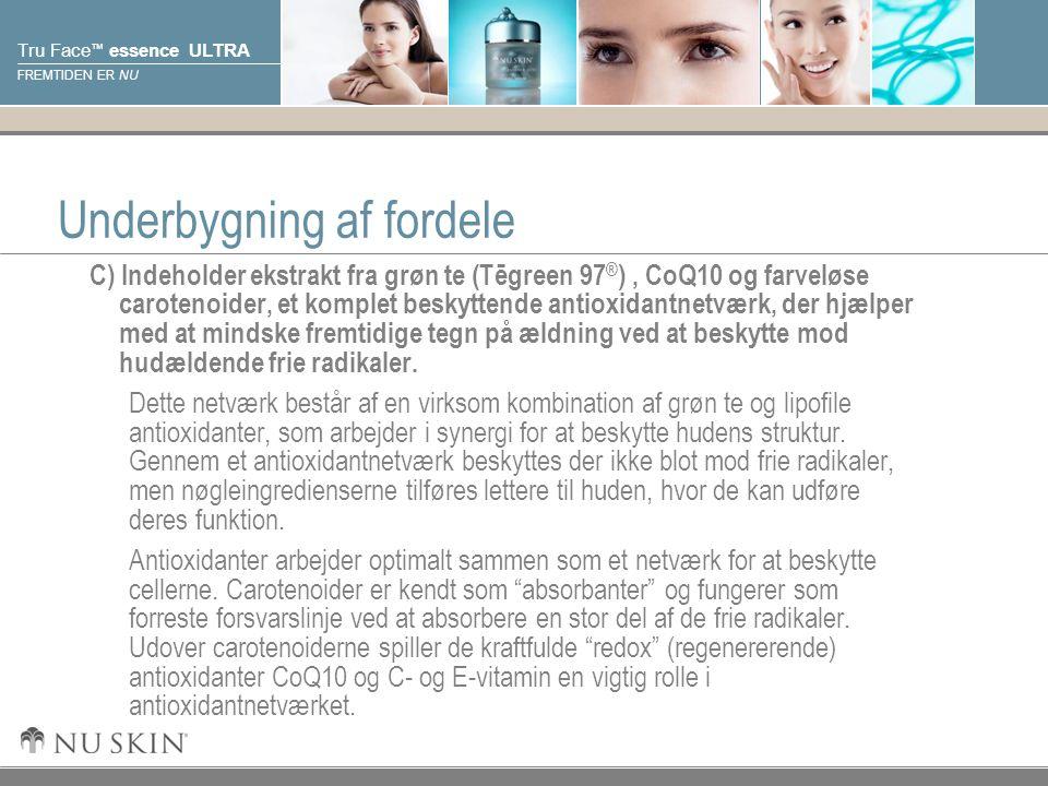 © 2001 Nu Skin International, Inc Tru Face ™ essence ULTRA FREMTIDEN ER NU Underbygning af fordele C) Indeholder ekstrakt fra grøn te (Tēgreen 97 ® ), CoQ10 og farveløse carotenoider, et komplet beskyttende antioxidantnetværk, der hjælper med at mindske fremtidige tegn på ældning ved at beskytte mod hudældende frie radikaler.