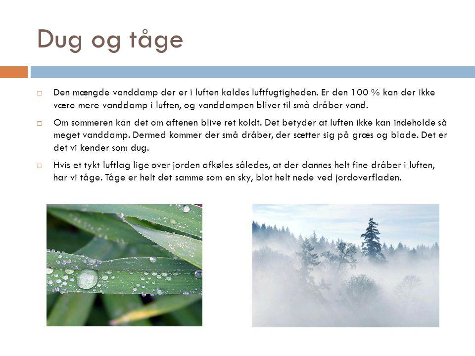 Dug og tåge  Den mængde vanddamp der er i luften kaldes luftfugtigheden.