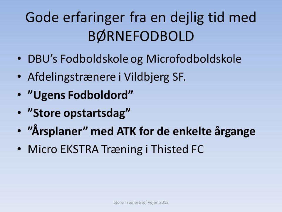 Gode erfaringer fra en dejlig tid med BØRNEFODBOLD • DBU's Fodboldskole og Microfodboldskole • Afdelingstrænere i Vildbjerg SF.