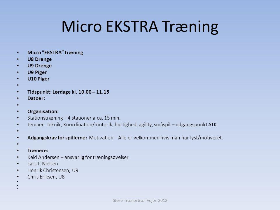 Micro EKSTRA Træning • Micro EKSTRA træning • U8 Drenge • U9 Drenge • U9 Piger • U10 Piger • • Tidspunkt: Lørdage kl.