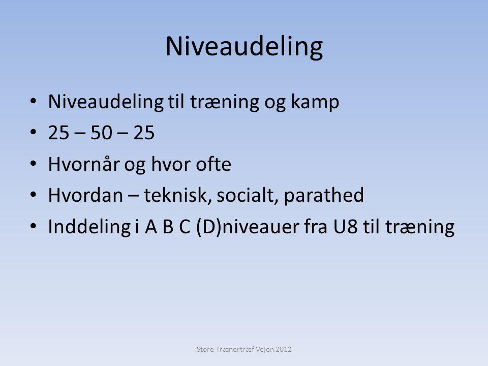 Niveaudeling • Niveaudeling til træning og kamp • 25 – 50 – 25 • Hvornår og hvor ofte • Hvordan – teknisk, socialt, parathed • Inddeling i A B C (D)niveauer fra U8 til træning Store Trænertræf Vejen 2012