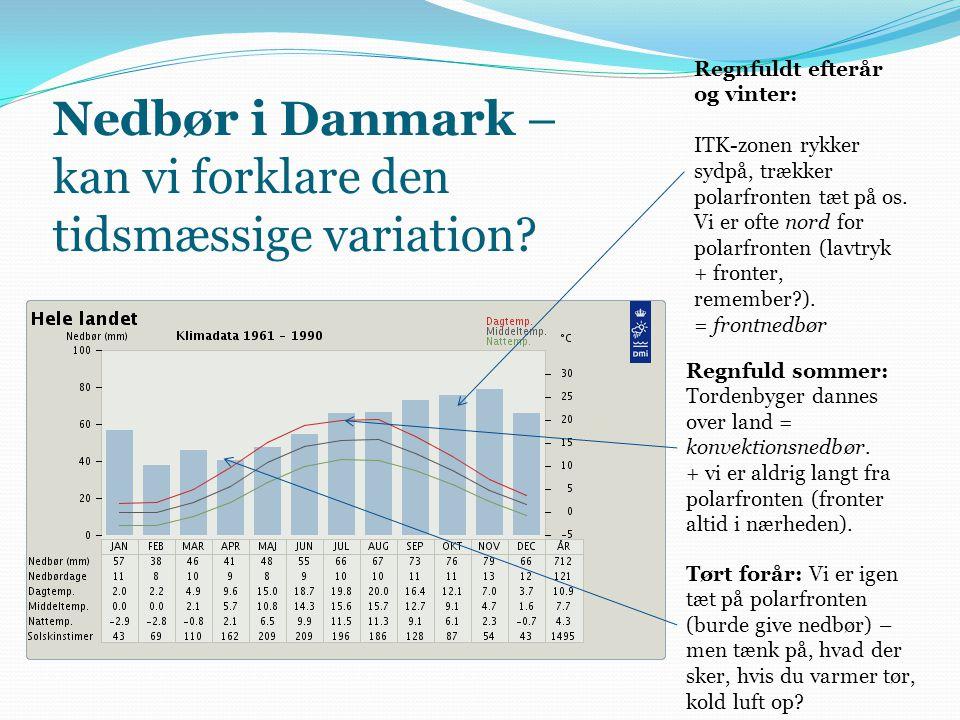 Nedbør i Danmark – kan vi forklare den tidsmæssige variation? Regnfuldt efterår og vinter: ITK-zonen rykker sydpå, trækker polarfronten tæt på os. Vi
