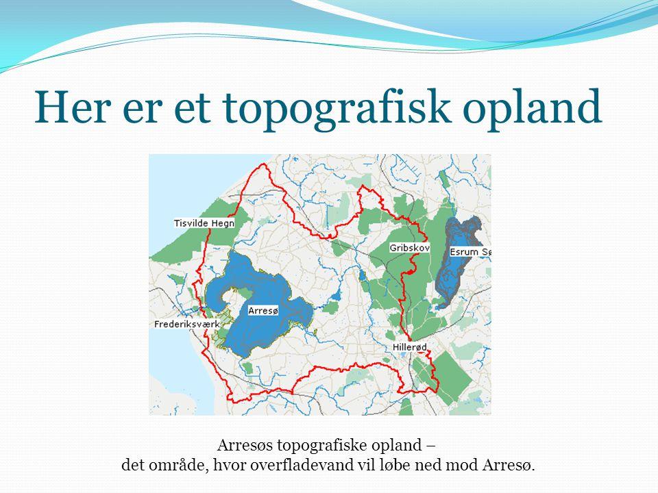 Her er et topografisk opland Arresøs topografiske opland – det område, hvor overfladevand vil løbe ned mod Arresø.