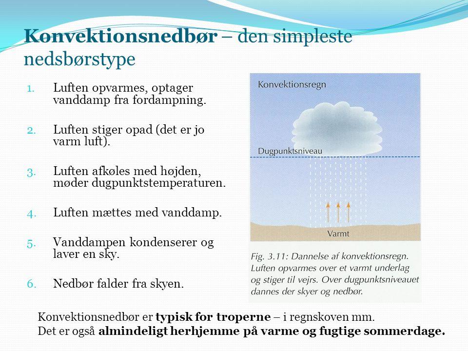 Konvektionsnedbør – den simpleste nedsbørstype 1. Luften opvarmes, optager vanddamp fra fordampning. 2. Luften stiger opad (det er jo varm luft). 3. L