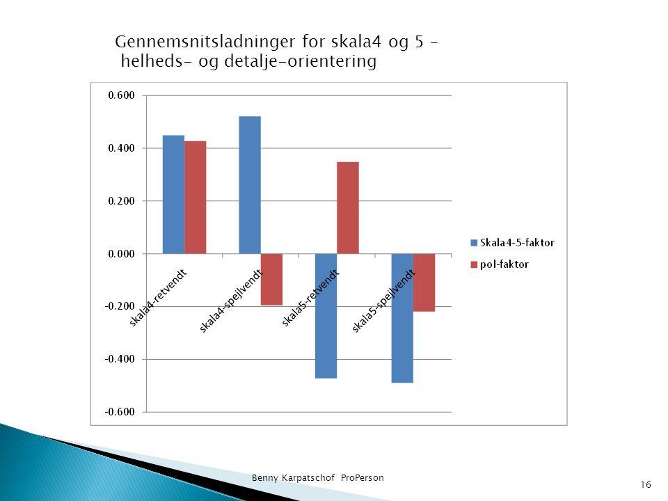 Benny Karpatschof ProPerson 16 Gennemsnitsladninger for skala4 og 5 – helheds- og detalje-orientering