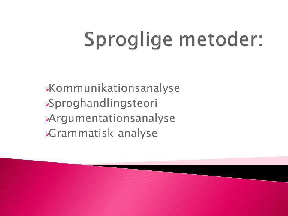  Kommunikationsanalyse  Sproghandlingsteori  Argumentationsanalyse  Grammatisk analyse