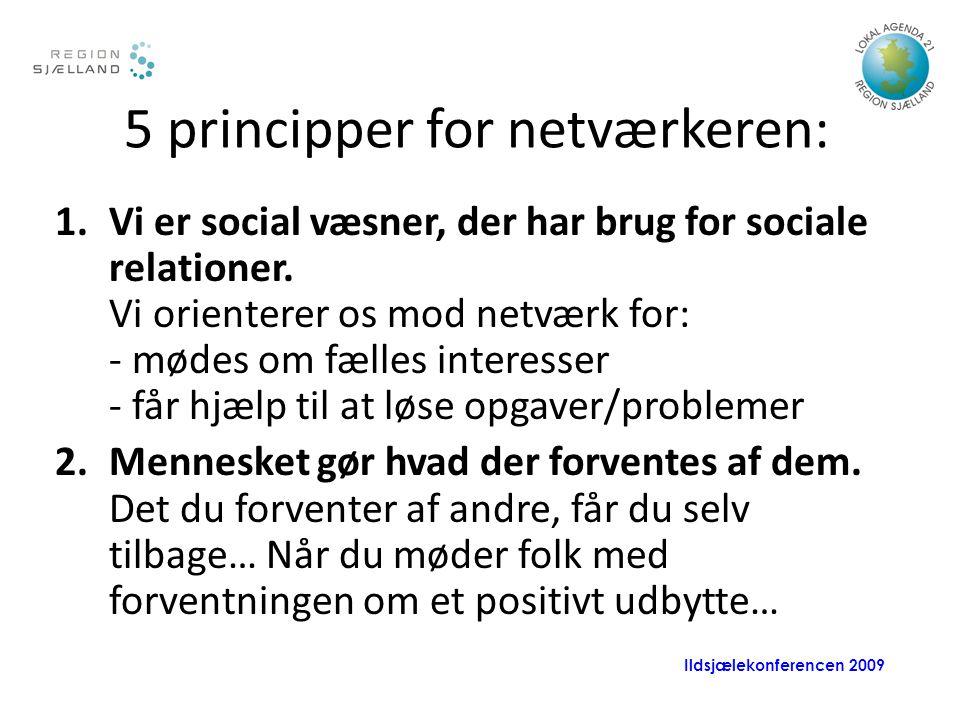 Ildsjælekonferencen 2009 5 principper for netværkeren: 1.Vi er social væsner, der har brug for sociale relationer.