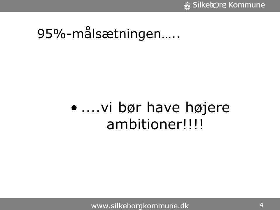 95%-målsætningen….. •....vi bør have højere ambitioner!!!! 4 www.silkeborgkommune.dk