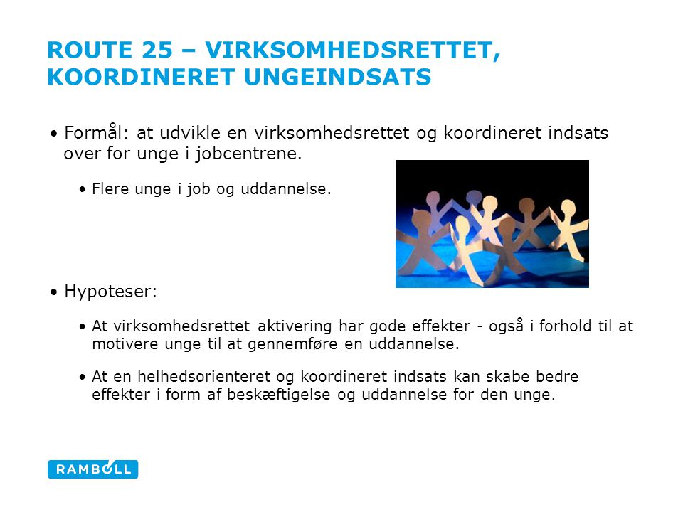 ROUTE 25 – VIRKSOMHEDSRETTET, KOORDINERET UNGEINDSATS •Formål: at udvikle en virksomhedsrettet og koordineret indsats over for unge i jobcentrene.