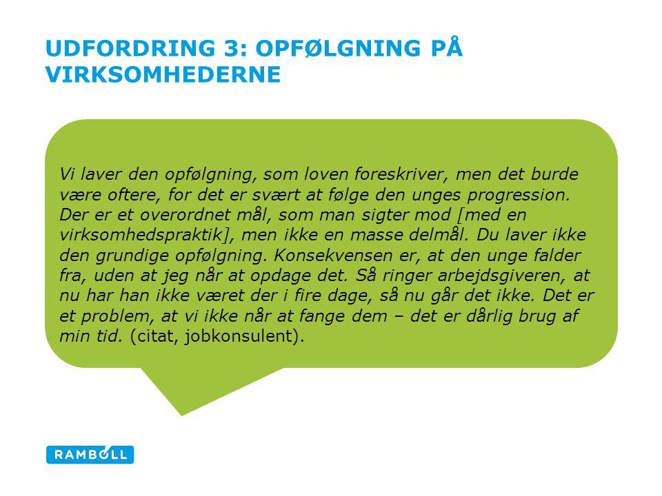 UDFORDRING 3: OPFØLGNING PÅ VIRKSOMHEDERNE Vi laver den opfølgning, som loven foreskriver, men det burde være oftere, for det er svært at følge den unges progression.