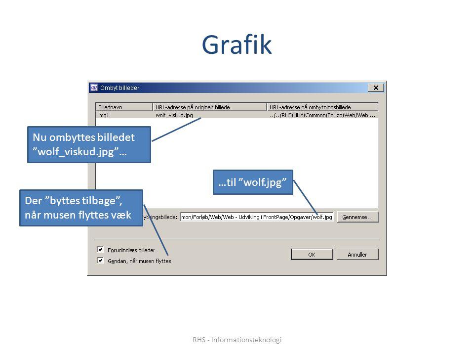 Grafik Nu ombyttes billedet wolf_viskud.jpg … …til wolf.jpg Der byttes tilbage , når musen flyttes væk RHS - Informationsteknologi