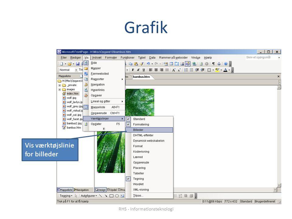 Grafik Vis værktøjslinie for billeder RHS - Informationsteknologi