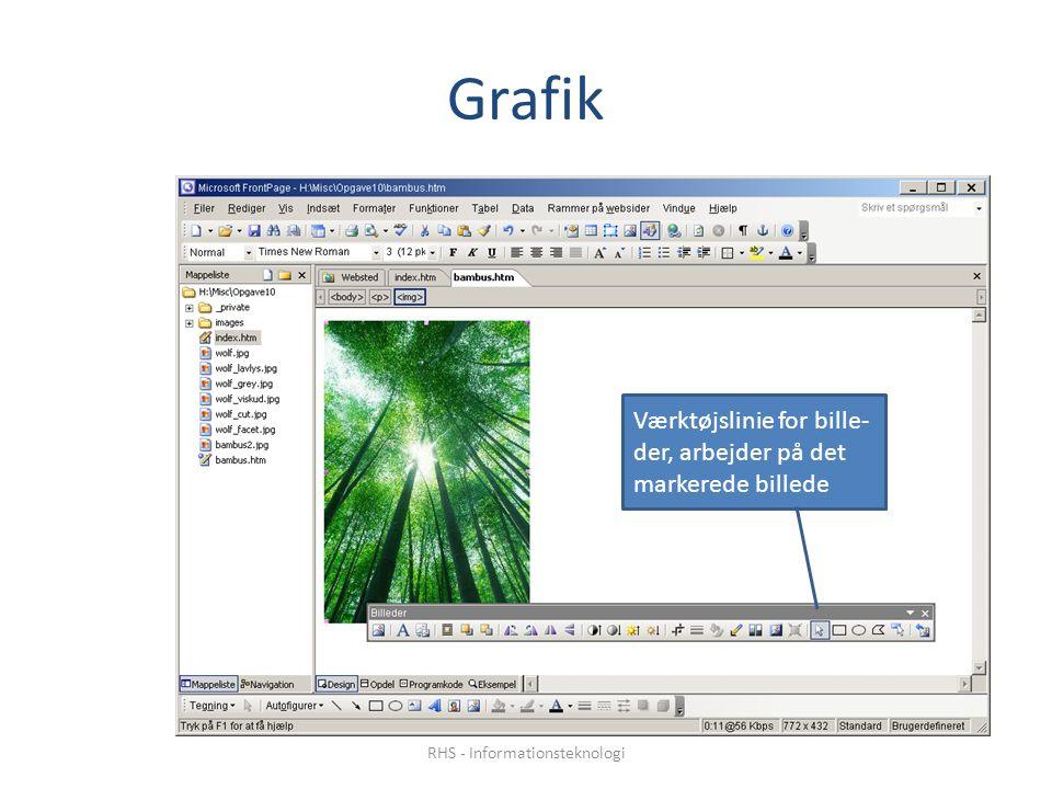 Grafik Værktøjslinie for bille- der, arbejder på det markerede billede RHS - Informationsteknologi