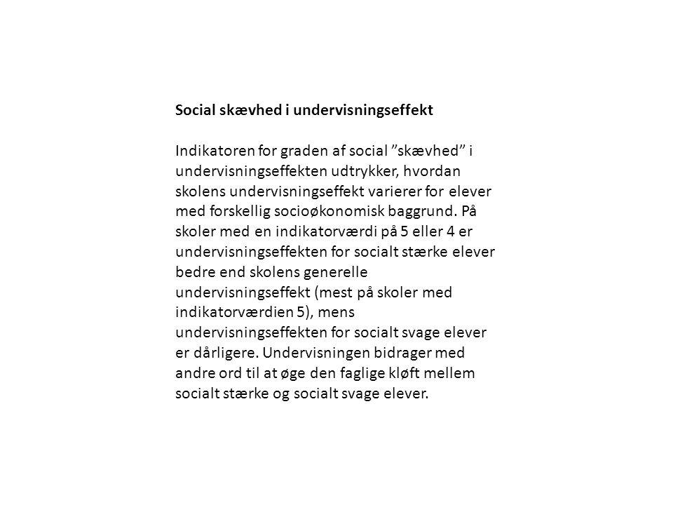 Social skævhed i undervisningseffekt Indikatoren for graden af social skævhed i undervisningseffekten udtrykker, hvordan skolens undervisningseffekt varierer for elever med forskellig socioøkonomisk baggrund.