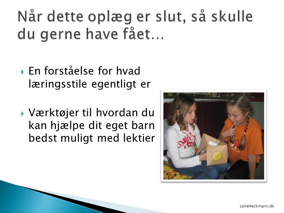  En forståelse for hvad læringsstile egentligt er  Værktøjer til hvordan du kan hjælpe dit eget barn bedst muligt med lektier LeneHeckmann.dk