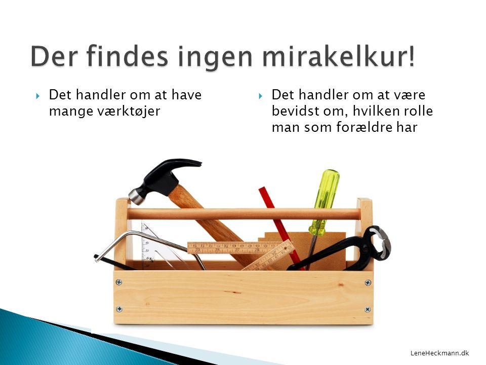  Det handler om at have mange værktøjer  Det handler om at være bevidst om, hvilken rolle man som forældre har LeneHeckmann.dk