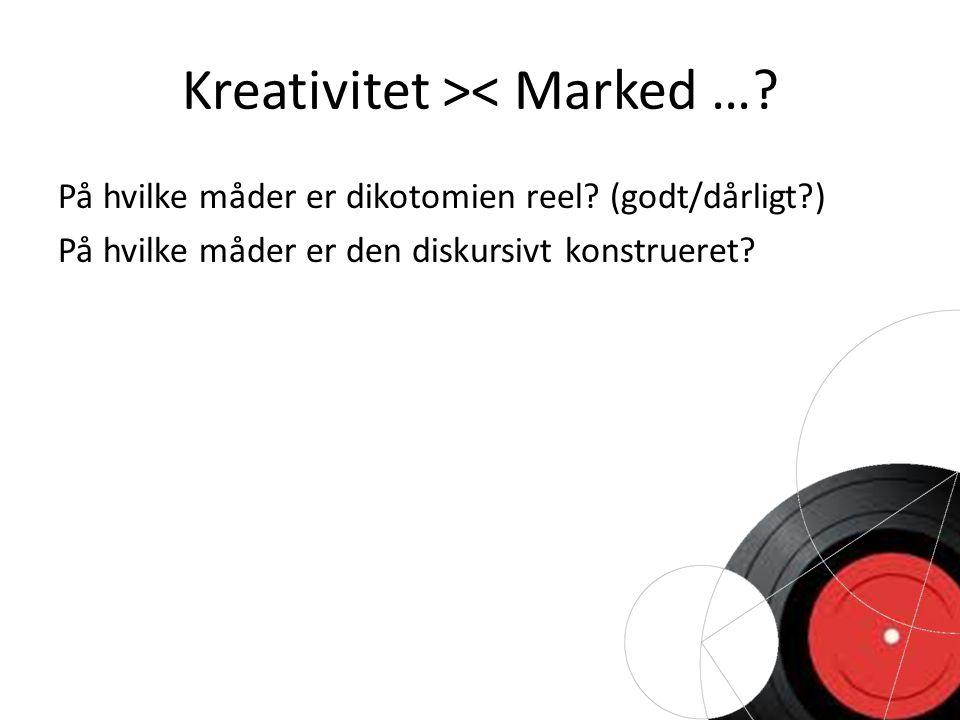 Kreativitet >< Marked …. På hvilke måder er dikotomien reel.