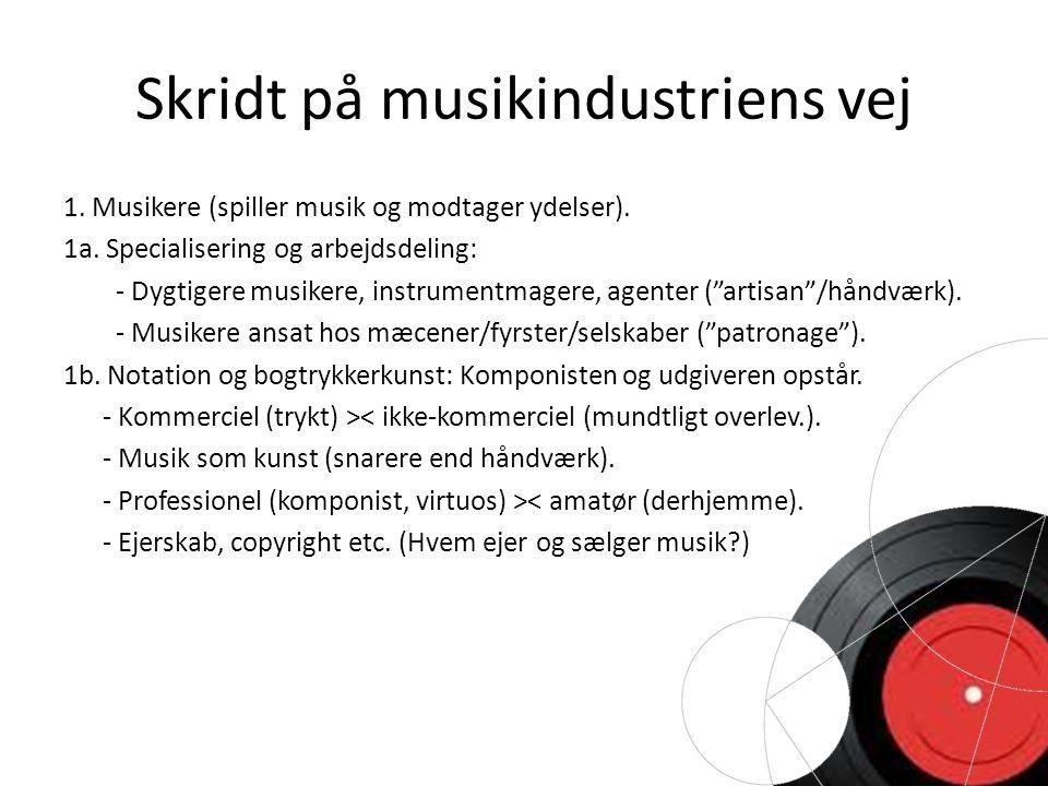 Skridt på musikindustriens vej 1. Musikere (spiller musik og modtager ydelser).
