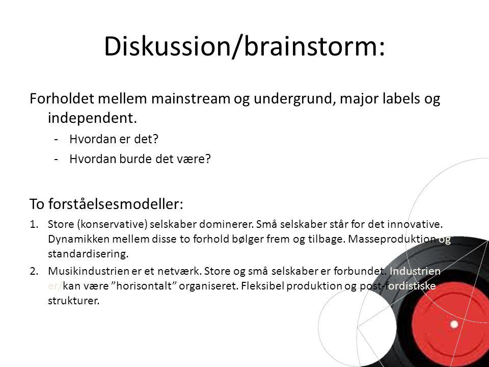 Diskussion/brainstorm: Forholdet mellem mainstream og undergrund, major labels og independent.