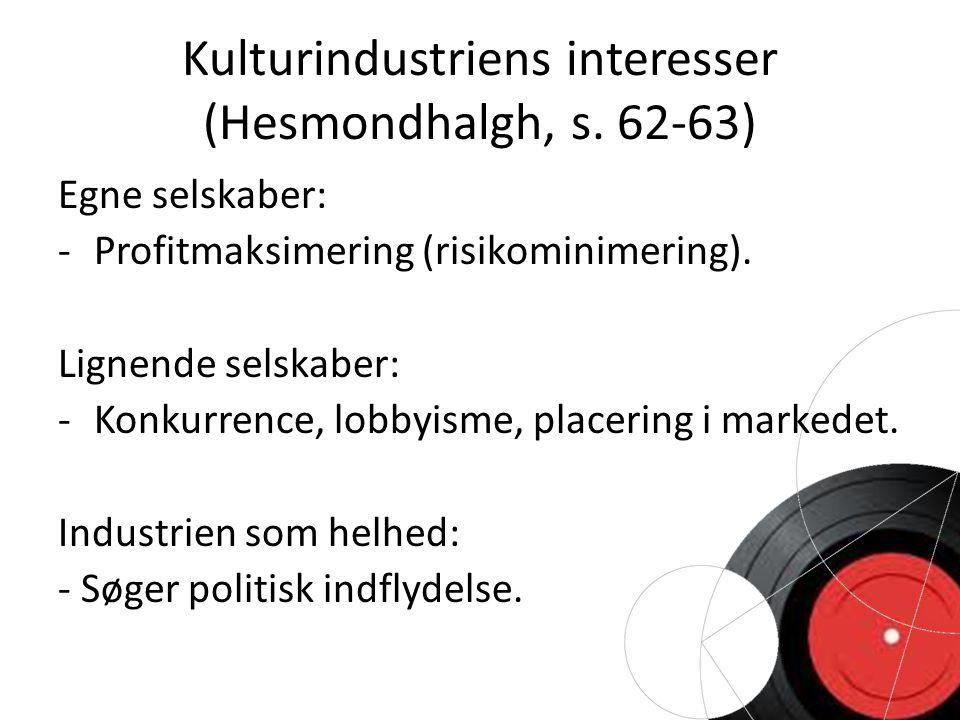 Kulturindustriens interesser (Hesmondhalgh, s.