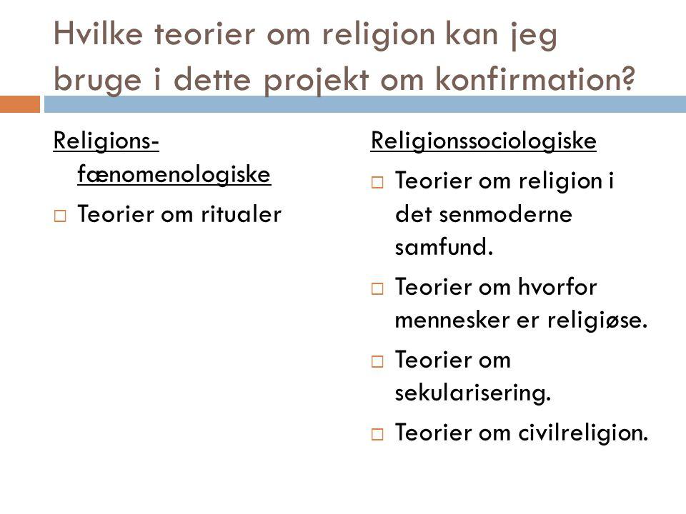 Hvilke teorier om religion kan jeg bruge i dette projekt om konfirmation.