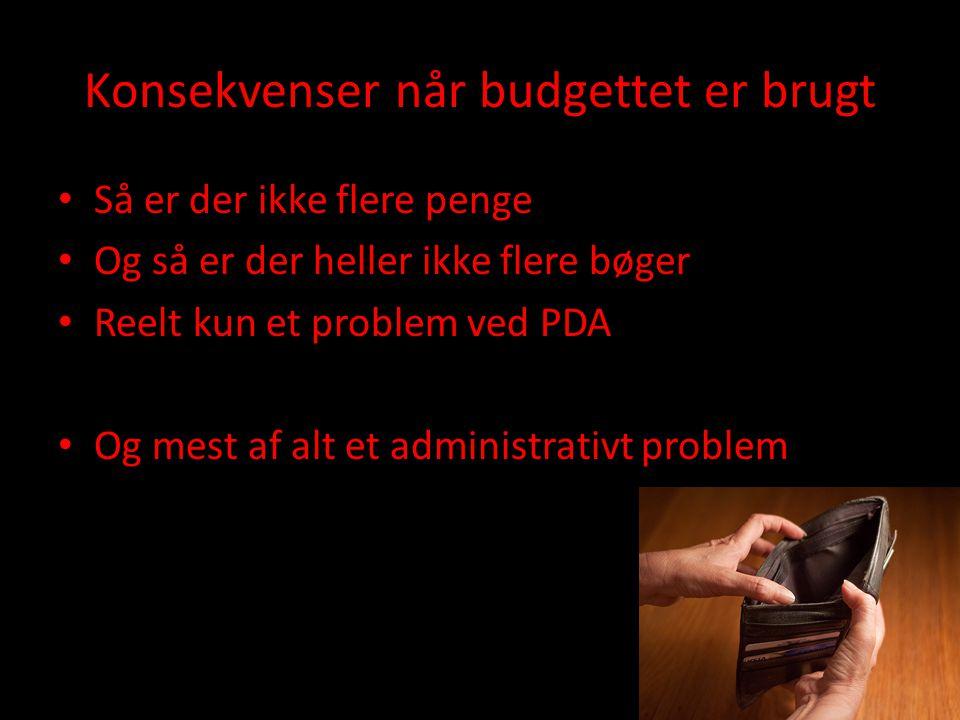 Konsekvenser når budgettet er brugt • Så er der ikke flere penge • Og så er der heller ikke flere bøger • Reelt kun et problem ved PDA • Og mest af alt et administrativt problem