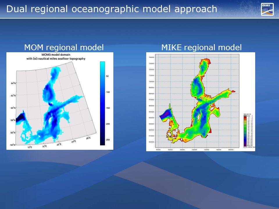 Dual regional oceanographic model approach MOM regional model MIKE regional model