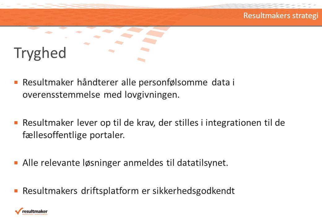 Tryghed  Resultmaker håndterer alle personfølsomme data i overensstemmelse med lovgivningen.
