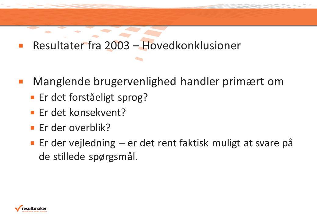  Resultater fra 2003 – Hovedkonklusioner  Manglende brugervenlighed handler primært om  Er det forståeligt sprog.