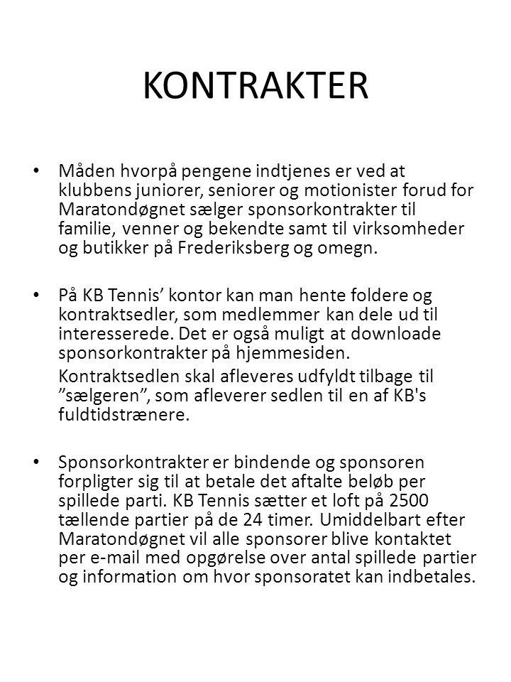 KONTRAKTER • Måden hvorpå pengene indtjenes er ved at klubbens juniorer, seniorer og motionister forud for Maratondøgnet sælger sponsorkontrakter til familie, venner og bekendte samt til virksomheder og butikker på Frederiksberg og omegn.