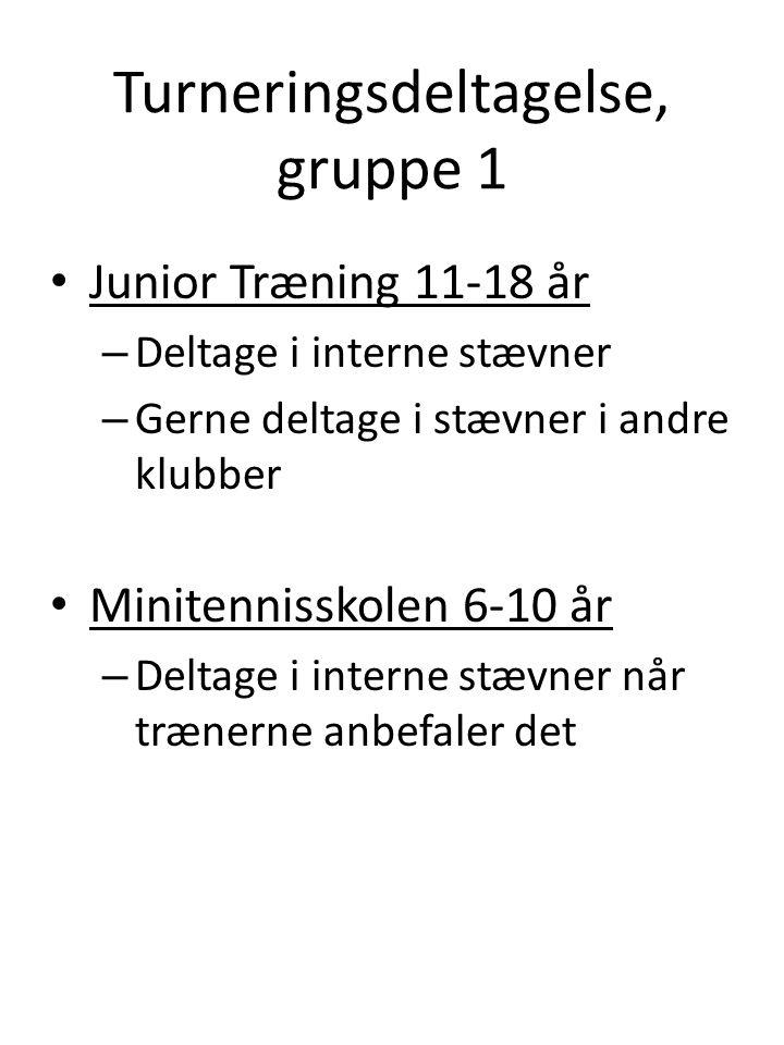 Turneringsdeltagelse, gruppe 1 • Junior Træning 11-18 år – Deltage i interne stævner – Gerne deltage i stævner i andre klubber • Minitennisskolen 6-10 år – Deltage i interne stævner når trænerne anbefaler det