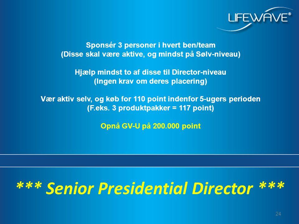24 *** Senior Presidential Director *** Sponsér 3 personer i hvert ben/team (Disse skal være aktive, og mindst på Sølv-niveau) Hjælp mindst to af disse til Director-niveau (Ingen krav om deres placering) Vær aktiv selv, og køb for 110 point indenfor 5-ugers perioden (F.eks.
