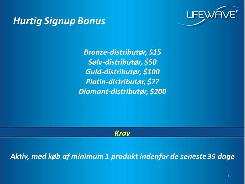 6 Aktiv, med køb af minimum 1 produkt indenfor de seneste 35 dage Hurtig Signup Bonus Bronze-distributør, $15 Sølv-distributør, $50 Guld-distributør, $100 Platin-distributør, $ .