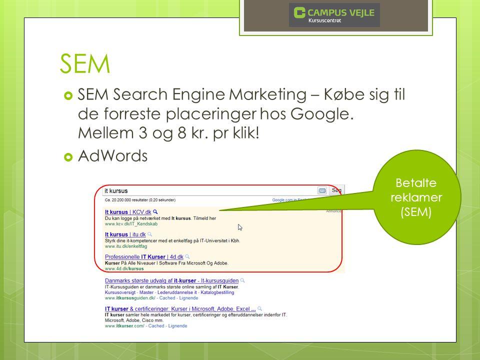 SEM  SEM Search Engine Marketing – Købe sig til de forreste placeringer hos Google.