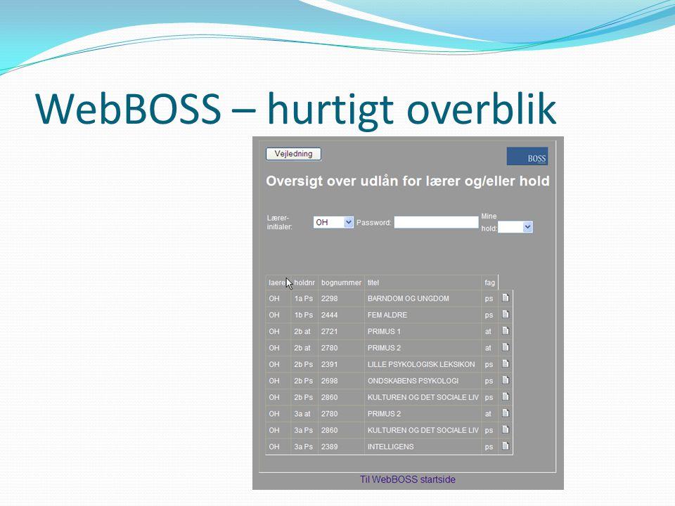 WebBOSS – hurtigt overblik