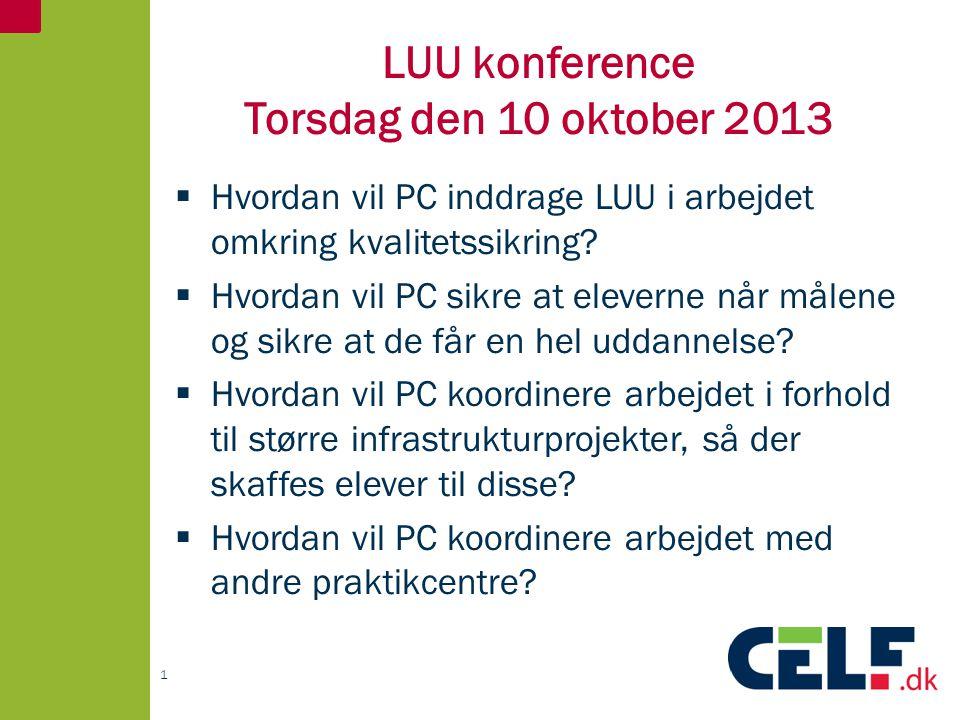 LUU konference Torsdag den 10 oktober 2013  Hvordan vil PC inddrage LUU i arbejdet omkring kvalitetssikring.