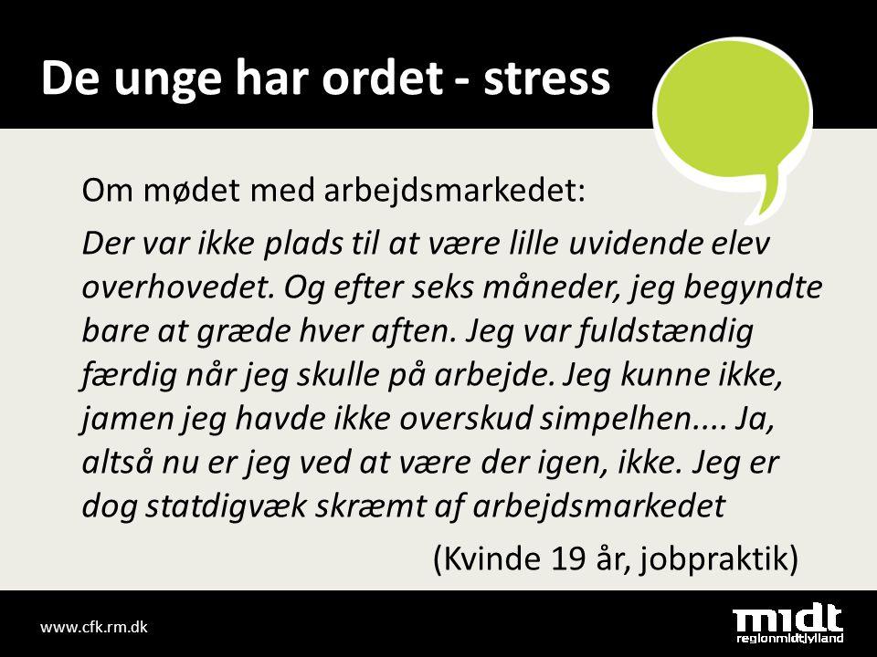 www.cfk.rm.dk De unge har ordet - stress Om mødet med arbejdsmarkedet: Der var ikke plads til at være lille uvidende elev overhovedet.